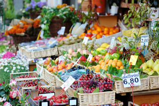Fresh fruits on a fruit market