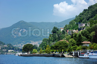 Fishing boats in Como, by the lake of Como, Italy