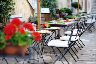 Outdoor cafe in Italian town