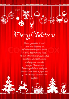 Christmas greeting card with lots of Christmas items