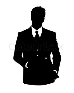 Graphic illustration of man in business suit as user icon, avatar