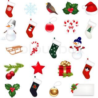 Big Christmas Icons Set, Isolated On White Background, Vector Illustration