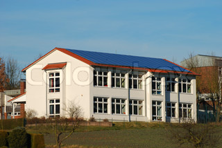 Building with solar panels on the roof