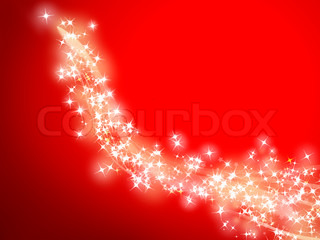 illustration of a trail of shooting stars on a red background