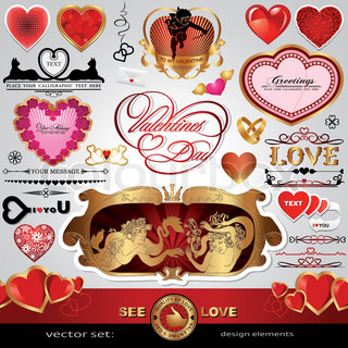 Happy Valentine's Day, Love and wedding vector set; Abstract, vintage, Christmas, retro hearts and ornaments for design; Antique, art banner, frame, card, label, greetings and invitation for marriage and wedding day