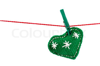 single knitted green heart on a red string isolated on white background