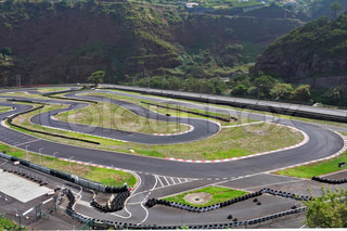 The picturesque race track in the mountains on the island of Madeira