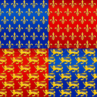 seamless pattern with traditional French heraldic motif of the golden lilies fleur de lis, and the lions on a red and blue background