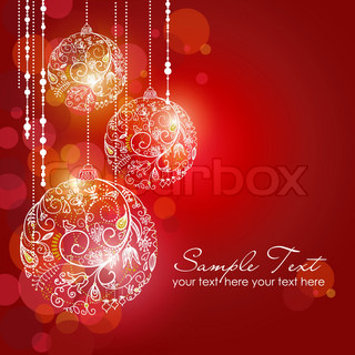 Red Christmas Background with Christmas ornaments