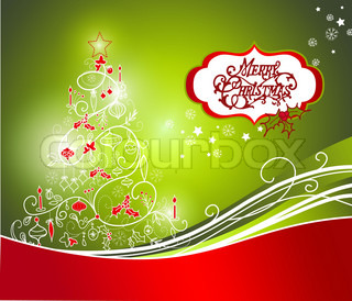 Beautiful Christmas tree on Red background