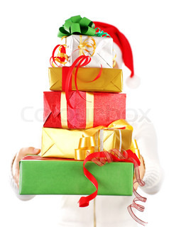 Santa Claus girl with many colorful holiday gift boxes for Christmas, isolated on white background