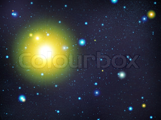 The big star congestion on night the sky and sun