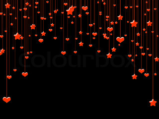 Red Valentine background with hearts and stars