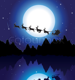 vector holiday background with santa, mountains and icy lake