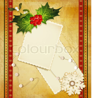 vector Christmas greeting with holly and a greeting card