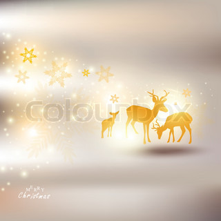 Beautiful Christmas background with reindeer and place for text