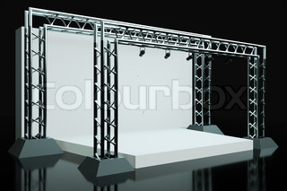 a concert stage with metal frame