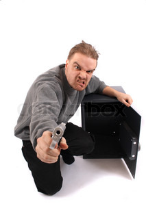 man and gun isolated on the white background