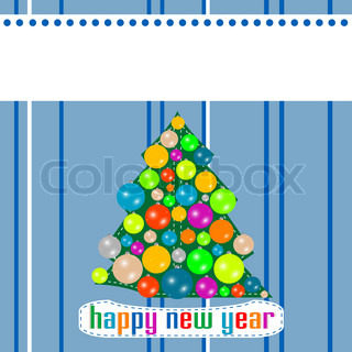 Blue Christmas template with tree on the balls