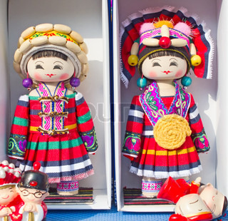 Dolls in traditional chinese costumes