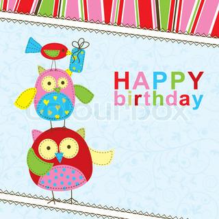 Skabelon fødselsdag lykønskningskort , vektor illustration