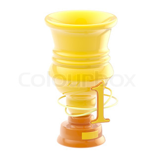 Icon-like goblet for the first place: yellow, glossy, isolated on white