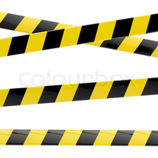 Set of black and yellow glossy barrier tapes