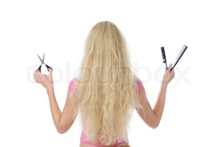 young girl with backcombing hair and scissors Isolated on white background