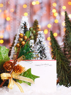 Happy holiday Christmas card background with blur lights, decoration & ornament