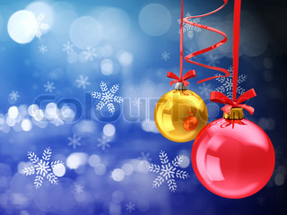 abstract 3d illustration of christmas background with glass balls and snowflakes