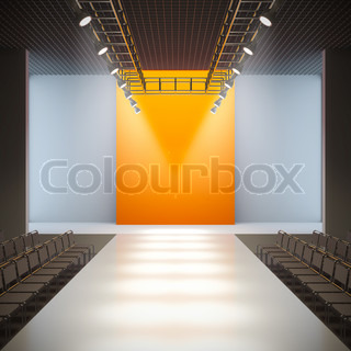 A 3D illustration of fashion empty runway