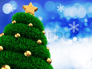 abstract 3d illustration of background with christmas tree and snowflakes