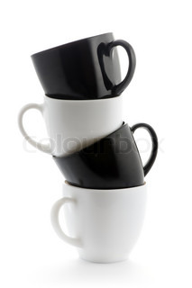 black and white coffee cups pyramid isolated