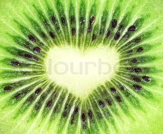 Kiwi frugt close -up Heart form
