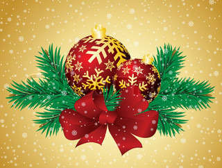 Christmas background with spheres and fur-tree branches