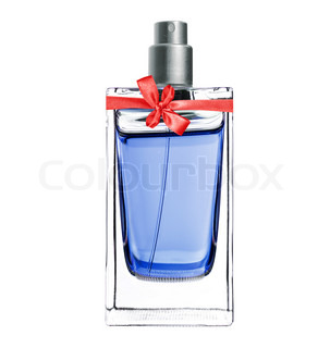 women's perfume in beautiful bottle with red bow isolated on white