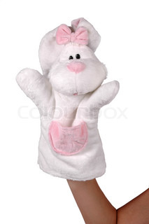 Hand puppet of white rabbit isolated on white