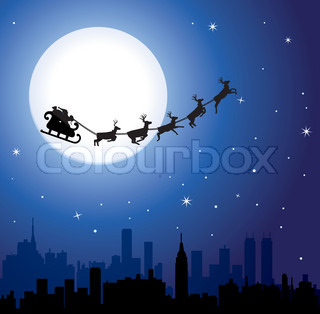 vector urban holiday background with santa