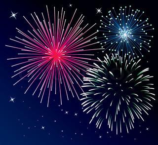Ector Hintergrund mit drei Arten von Feuerwerk