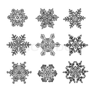 Macro Structure Of Real Snowflakes Transformed And Drawn As Ornamental Usable Shapes Set Of Nine Forms Vector 3093642 on cold front symbol
