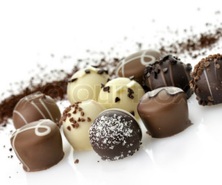 Delicious Chocolate Pralines ,Close Up,On White Background