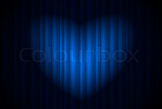 Stage with blue curtain and spotlight great, heart-shaped Illustration of the designer