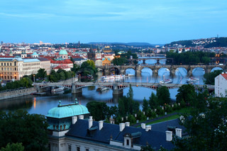 Twilight view of Prague bridges