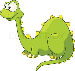 Cartoon Character Dino Isolated on White Background