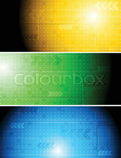 Set of colorful hi-tech banners Eps 10 vector