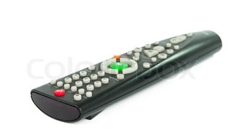 Black TV remote control on a white background