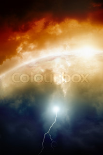 Dramatic background - planet earth in dark sky, bright sun, lightning 2012 mayan apocalypse Countdown to armaggedon