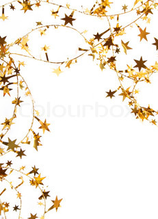 Holiday golden stars and spangles as background