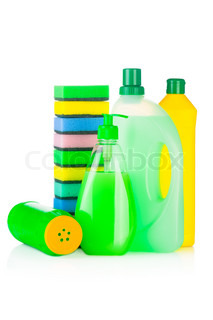 House cleaning supplies Plastic bottles with detergent and sponge isolated on white background