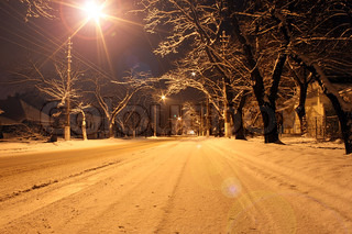 street in a town at winter night
